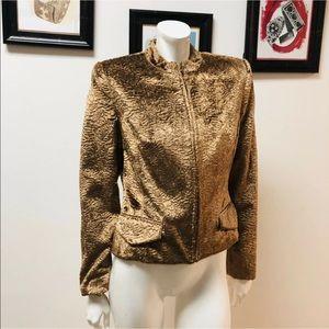 Oscar De La Renta Brown Textured Jacket 10